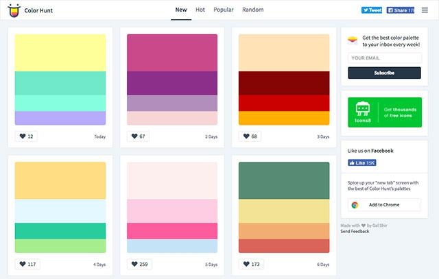 毎日更新される「ColorHunt」