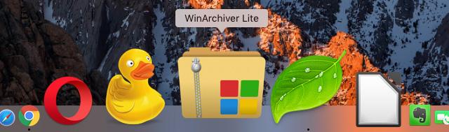WinArchiver Lite のアイコンにドラッグ&ドロップ