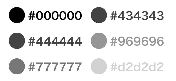 16進数でもグレーの色指定