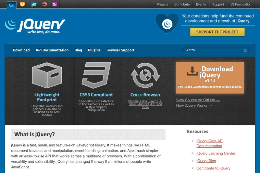 jQueryダウンロードサイト