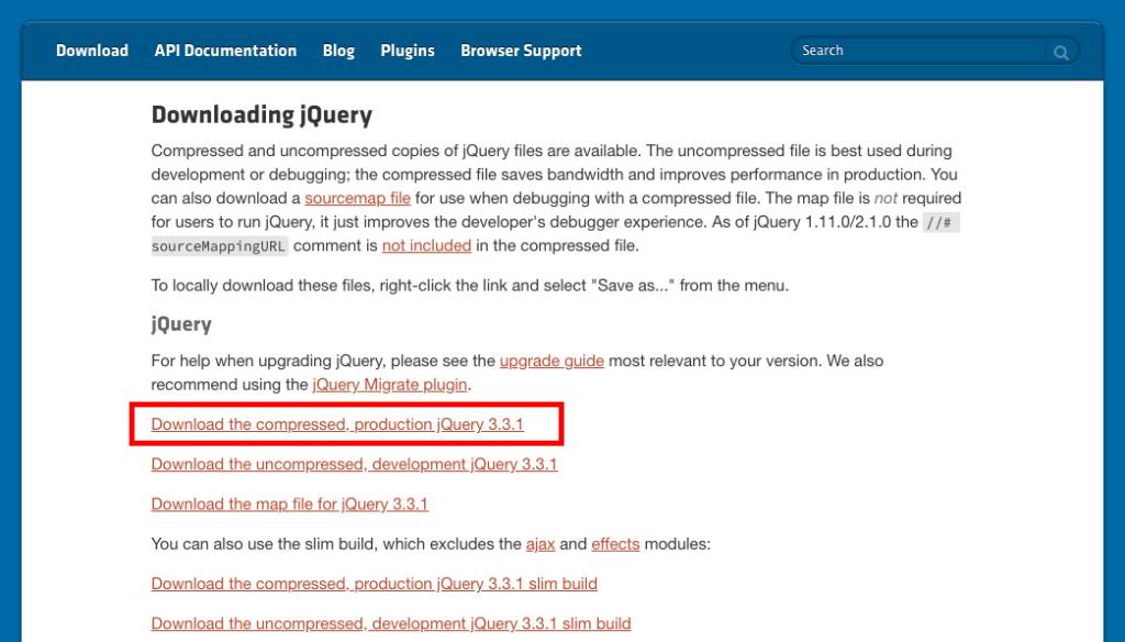 jQueryダウンロードサイト02