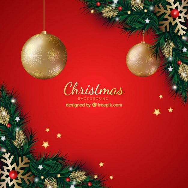 クリスマスの装飾と赤の背景