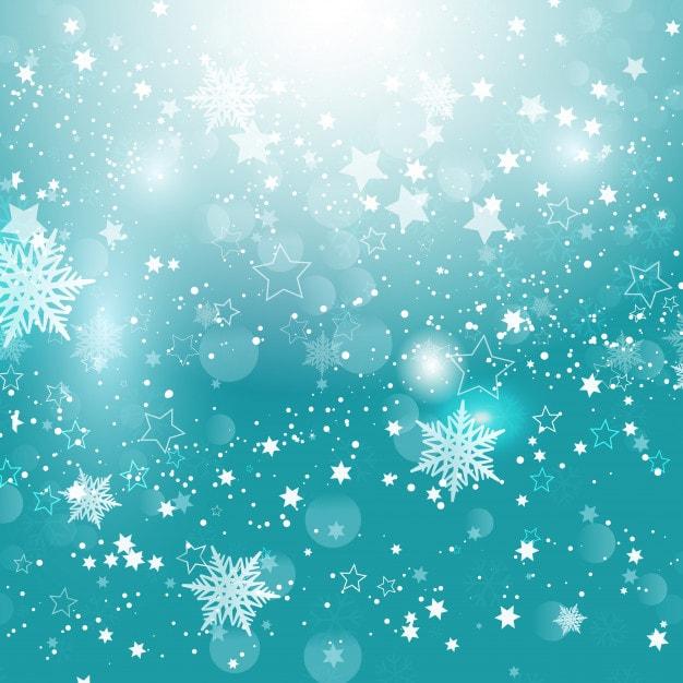 クリスマスの雪片と星(青)