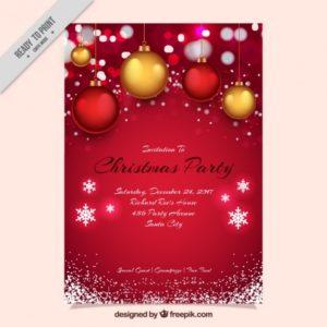 ボールと雪片と赤のクリスマスパーティーの招待状