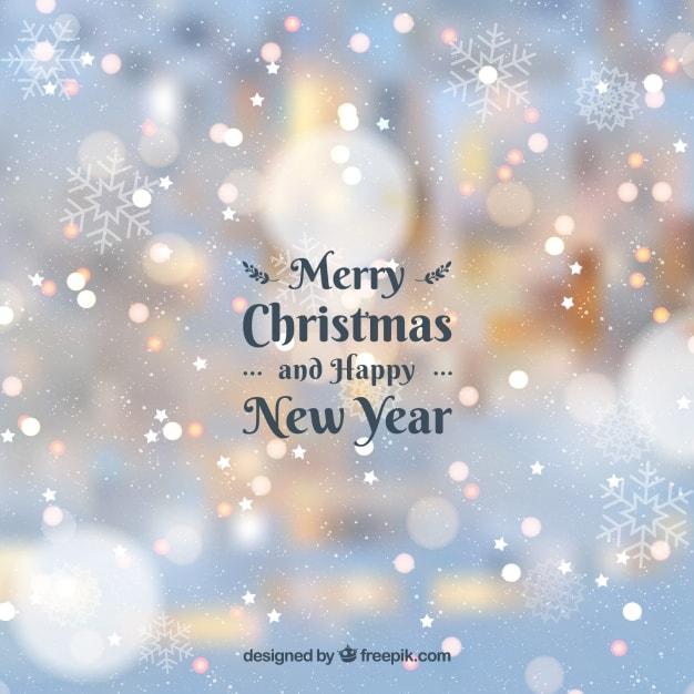 曇った背景メリークリスマスと幸せな新年