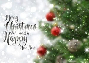 クリスマスのテキストの背景defocussedツリー画像