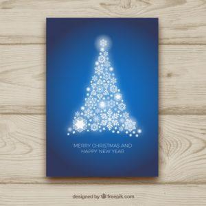 光沢のあるクリスマスツリーのグリーティングカード