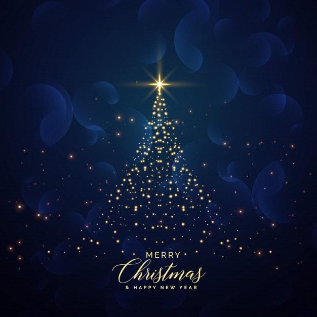 輝く背景で作られた創造的なクリスマスツリー