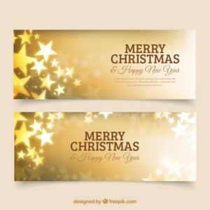 星とメリークリスマスと新年のための黄金のバナー