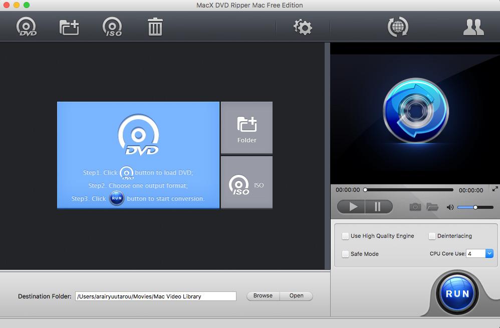 MacX DVD Ripper Mac Free Editionを立ち上げる